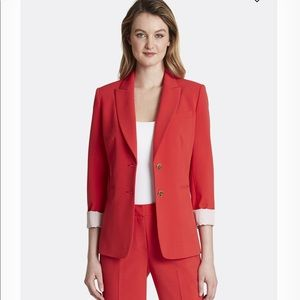 Tahari ASL Roll Cuffed Two Button Jacket Red Sz 16